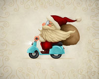 Motorized Santa Claus. Delivery the gifts Stock Photo