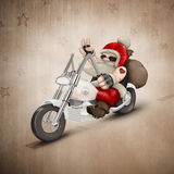 Motorized Santa Claus. Santa Claus rides a motorcycle for delivery the gifts Royalty Free Stock Photos