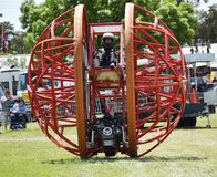 Motorized Steel Ball. Stunt driving was all part of the entertainment and amusement at the city of Geelong show, in Victoria. Australia. this one of a kind royalty free stock images