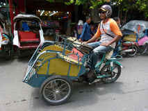 Motorized tricycles. Used as a mode of transportation in Yogyakarta, Indonesia Stock Photos