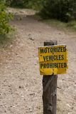 Motorized Vehicles Prohibited Royalty Free Stock Image