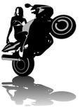 Motorized women. Drawing women to big motorcycle Royalty Free Stock Photography