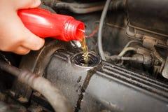 Motorolie, motor van een auto dichte omhooggaand royalty-vrije stock foto's