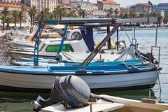 Motorowa łódź na Adriatic morzu, rozłam, Chorwacja Zdjęcia Stock
