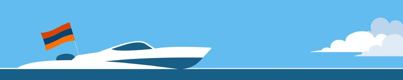 Motorowa łódź z Armenia flaga royalty ilustracja