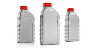 Motorowe nafciane butelki żadny etykietka odizolowywająca przeciw białemu tłu ilustracja 3 d zdjęcia stock