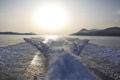 Motorowy jachtu ślad obraz royalty free