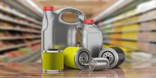 Motorowy paliwo i nafciani olejów kanistery filtrów i parowozowego, plama magazynu tło ilustracja 3 d zdjęcia royalty free