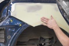 Motorowy samochód w remontowym sklepie Fotografia Stock