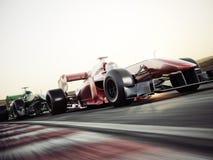 Motorowych sportów konkurencyjny drużynowy ścigać się Szybcy poruszający rodzajowi samochody wyścigowi ściga się w dół ślad ilustracji