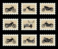 Motorräder auf Briefmarken stock abbildung