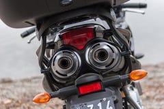 Motorräder an Breite 54 in Ushuaia, Argentinien Lizenzfreie Stockbilder