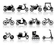 Motorräder und Fahrräder eingestellt von den schwarzen Ikonen Stockfotografie