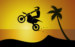 Motorrad auf Küste Stockfoto