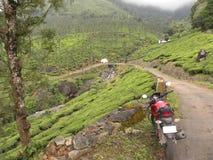 Motorrad auf kurvenreichen Straßen von Bergen bei Wayanad stockbilder