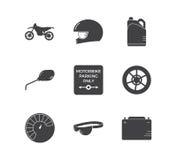 Motorrad, das einfachen Ikonensatz läuft Lizenzfreie Stockfotos