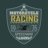 Motorrad, das Emblem, T-Shirt läuft Lizenzfreie Stockfotos