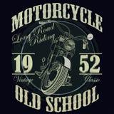 Motorrad, das Typografie-Grafiken läuft laufen T Stockbild