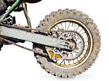 Motorrad des hinteren Rades für den Versuch umfaßt mit Schlamm Stockbilder