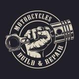 Motorrad-Firmenzeichenkonzept der Weinlese kundenspezifisches Stockbild