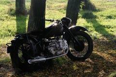 Motorrad im Wald Stockfotografie
