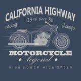 Motorrad-laufende Typografie, Kalifornien-Landstraße Lizenzfreie Stockfotos