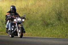 Motorrad-Mitfahrer auf einem Straßen-Schwein Stockfotos