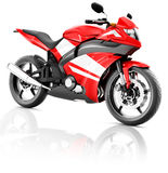 Motorrad-Motorrad-Fahrrad, das Rider Contemporary Red Concept reitet Stockfoto