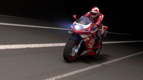 Motorrad nachts Lizenzfreies Stockfoto