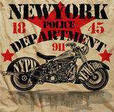 Motorrad-New- Yorkspaß-Mann-T-Shirt Grafikdesign Stock Abbildung