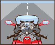 Motorrad-Reiter-Ansicht-Farbstraße voran Stockfotos