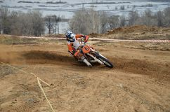 Motorrad-Rennläufer dreht sich scharf Stockfotografie