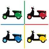 Motorrad-Roller-Retro- Vektor und Ikone Lizenzfreie Stockfotos