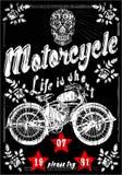Motorrad-Schädel-Mann-Weinlese-altes T-Shirt Design Lizenzfreie Abbildung