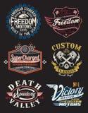 Motorrad-themenorientierte Ausweise stock abbildung