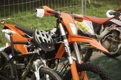 Motorrad und Fahrrad Stockbild