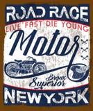 Motorrad-Weinleselogoemblem T-Shirt Design lizenzfreie abbildung