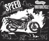 Motorradaufkleberdesign mit Hand gezeichnetem Motorrad für Poster, Lizenzfreies Stockbild