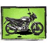 Motorradaufkleberdesign mit Hand gezeichnetem Motorrad für Poster, Stockfoto