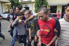 Motorraddiebstahl- und -raubfestnahmen in Semarang Stockfotos