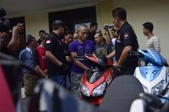 Motorraddiebstahl- und -raubfestnahmen in Semarang Lizenzfreies Stockfoto