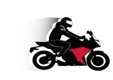 Motorradfahrer, der sein Fahrzeug fährt Stockfotografie