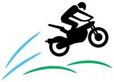 Motorradfahrer springen Stockfotografie