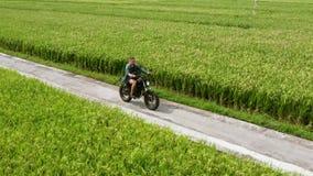 Motorradfahrerreiten auf die Reisfelder Au?enaufnahme, Landschaftslandschaft Reise und Sportphotographie drehzahl stock video footage