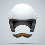 Motorradfahrersymbol mit dem Schnurrbart Lizenzfreies Stockbild