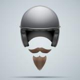 Motorradfahrersymbol mit dem Schnurrbart und Bart Lizenzfreie Stockfotos