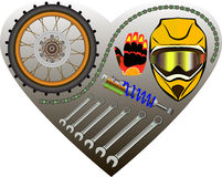 Motorradgaragenhintergrund Stockbilder