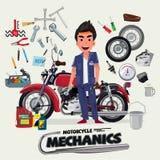 Motorradmechaniker mit Tool-Kit Charakterdesign - Vektor Lizenzfreie Stockbilder