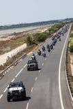 Motorradprozession - Jeeps und Harley in Spanien Stockbilder