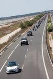Motorradprozession - Jeeps und Harley in Spanien Stockbild